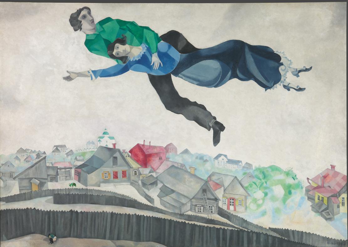 Marc Chagall Sopra la città, 1914/1918 olio su tela , 139 x 197 cm Galleria di Stato Tretjakov di Mosca © The State Tretyakov Gallery, Moscow, Russia © Chagall ®, by SIAE 2018