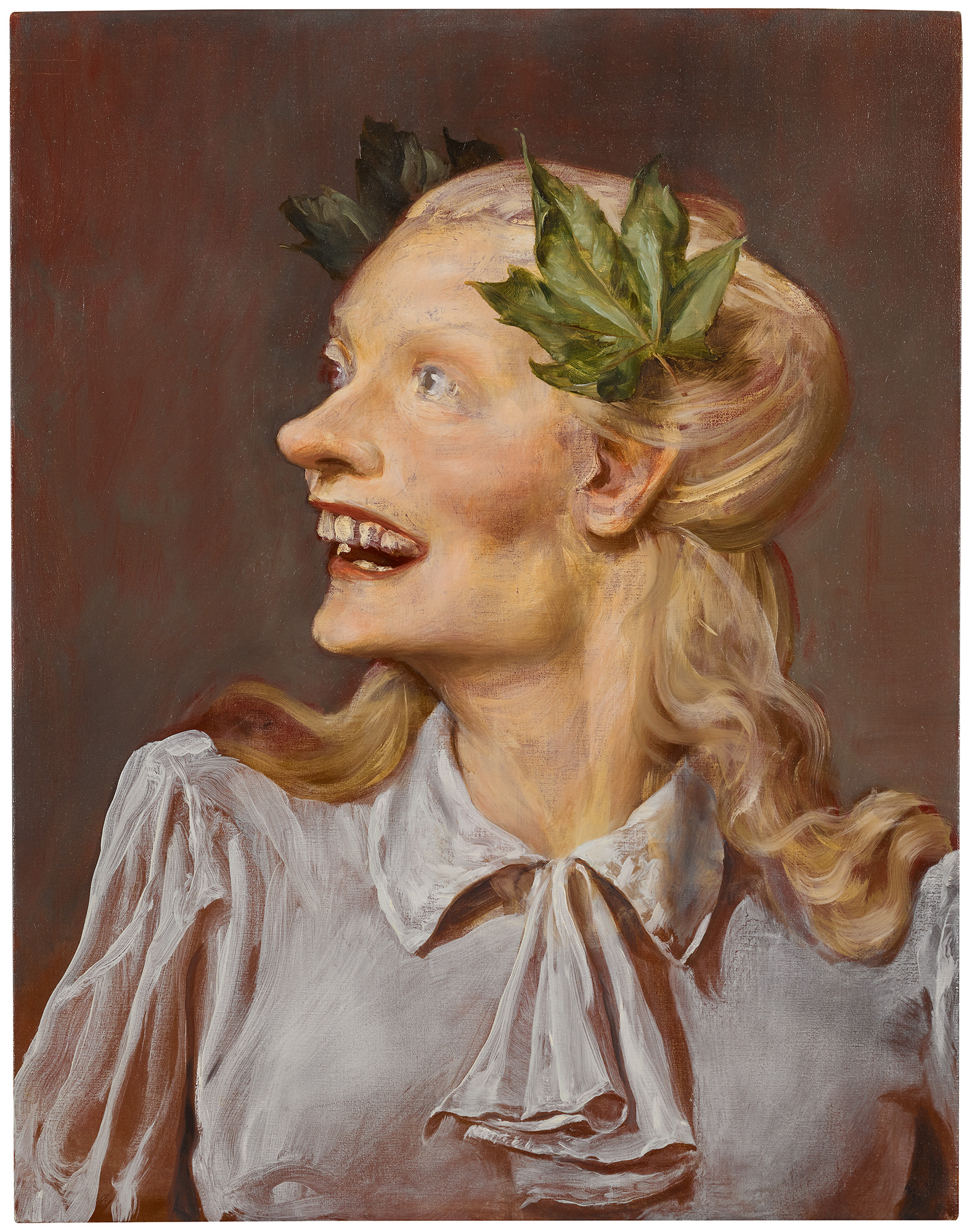 John Currin B. 1962 MINERVA signed and dated 2000 on the overlap oil on canvas 71.1 by 55.9 cm. 28 by 22 in.