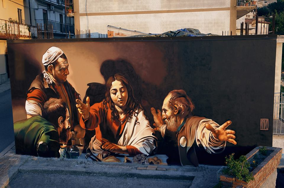 Andrea Ravo Mattoni, Cena in Emmaus. Sprayed wall, San Salvatore di Fitalia, July 2016
