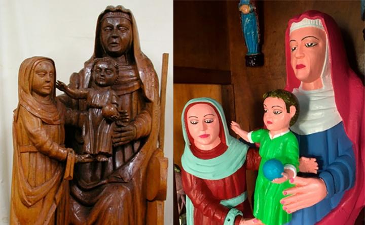 Il gruppo scultoreo prima e dopo la ridipintura nel villaggio della Spagna (foto La Nueva Espana)