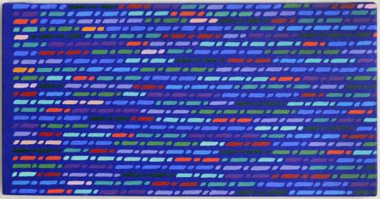 Lotto 330 PIERO DORAZIO [Roma 28/06/1927 - Todi 17/05/2005] Teoria, 1979 olio su tela 26x52 cm, titolo, firma, anno e timbro dell'artista al retro, dichiarazione d'autenticità dell'artista su foto. Stima € 27.000/30.000 Base d'Asta € 15.000