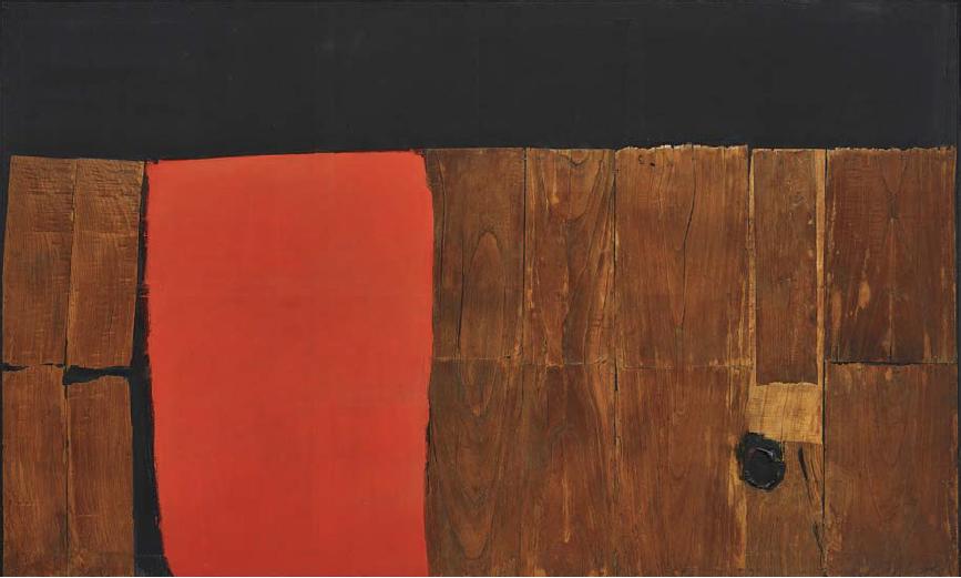 Alberto Burri Grande Legno e Rosso , Executed in 1957-1959 (150 x 250 cm.) Estimate: $10-15 million