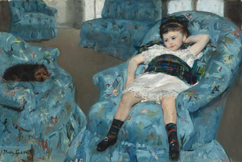 Mary Cassatt. Bambina su una poltrona blu. 1877-1878