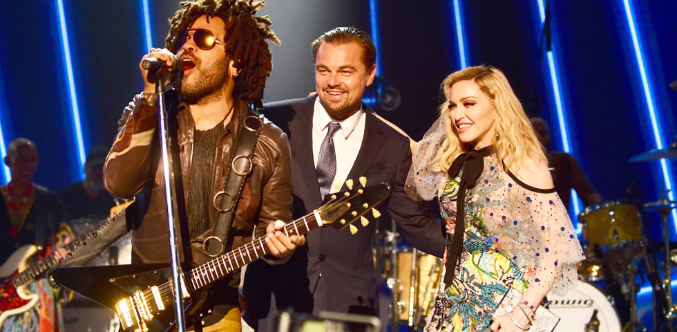 Lenny Kravitz e Madonna insieme a Leonardo di Caprio al Gala 2017