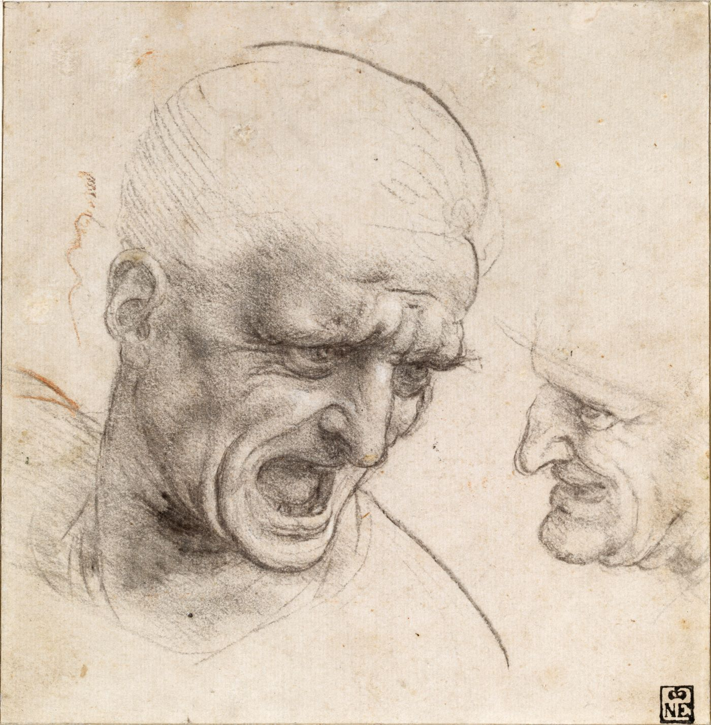 Leonardo da Vinci (1452-1519) Studies of the Heads of Two Warriors, c. 1504-05 Black chalk or charcoal, traces of red chalk Szépművészeti Múzeum, Budapest