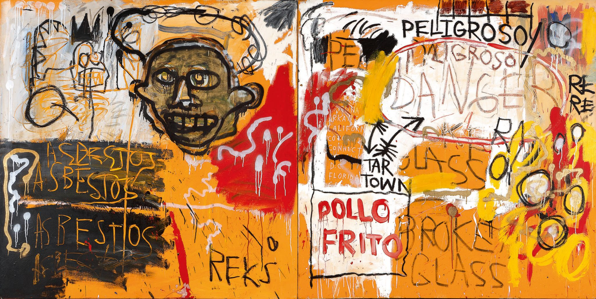 Jean‐Michel Basquiat Untitled (Pollo Frito) 1982 Acrylic, oil and enamel on canvas, in two parts 152.4 by 306.1 cm | 60 by 120½ in Estimate in Excess of $25 Million