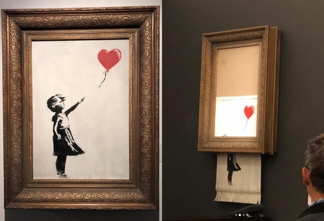 "Il Banksy ""autodistrutto"" all'asta Sotheby's Londra (foto hyperallergic.com)"
