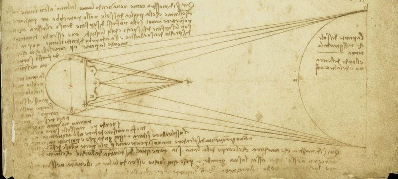 Leonardo da Vinci, Studi sul lume cinereo, Codice Leicester, courtesy Bill Gates-©bgC3 (particolare)