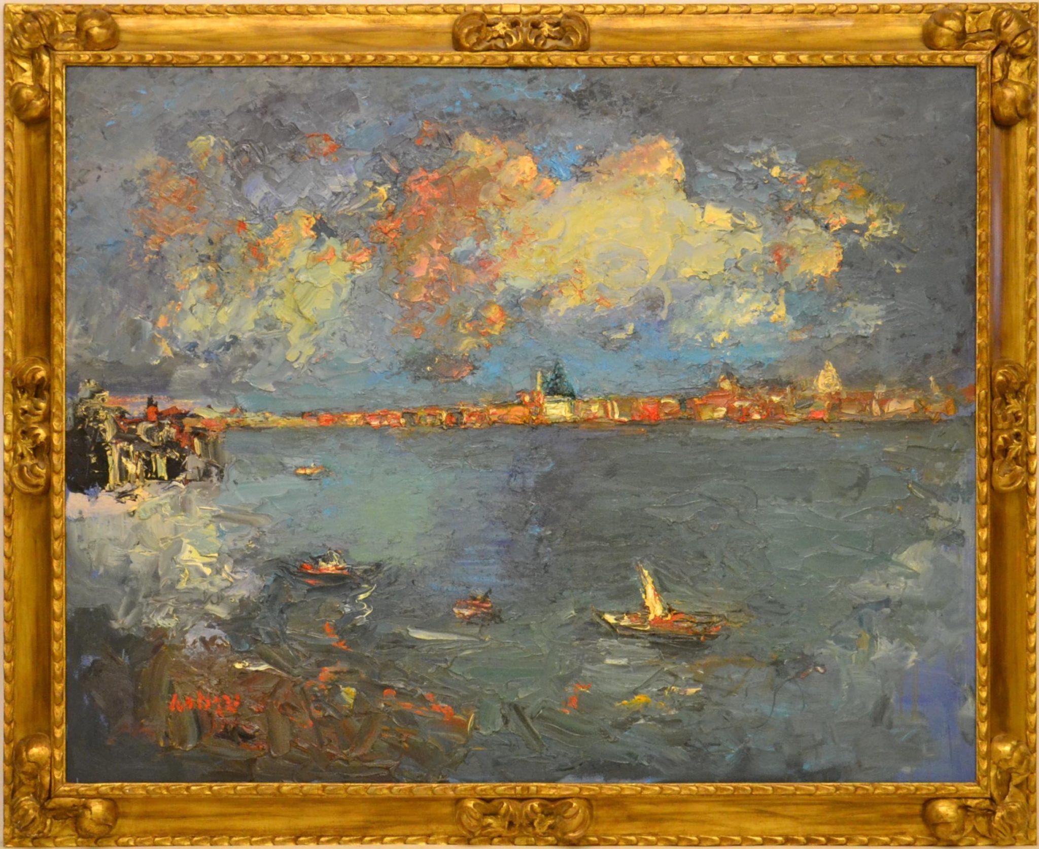 Sergio Scatizzi ( Capannori 1918 – Firenze 2009 ) VENEZIA, IN MEMORIA DI OSKAR KOKOSCHKA olio su tavola, cm 175x138 firmato in basso a sinistra, titolato, datato 2006 e firmato al retro STIMA € 5.000 / 10.000