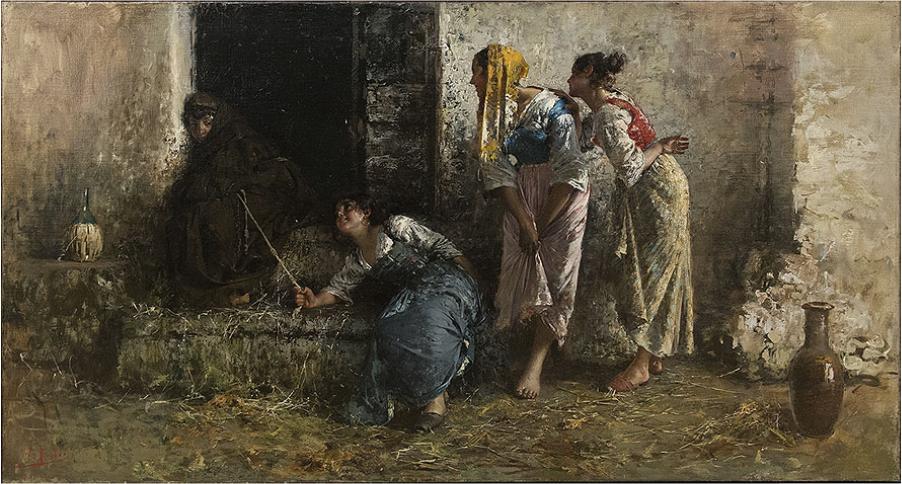 Vincenzo Irolli (1860-1949) Scherzi infantili Olio su tela 79,5×141 cm