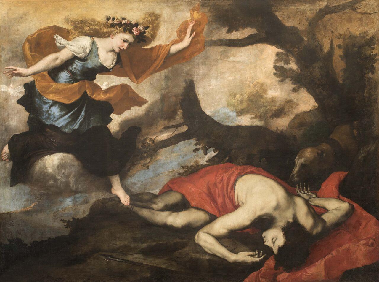 Jusepe de Ribera (Xàtiva 1591 – Napoli 1652) Venere scopre il corpo di Adone firmato e datato 1637 olio su tela Roma, Gallerie Nazionali d ' Arte Antica