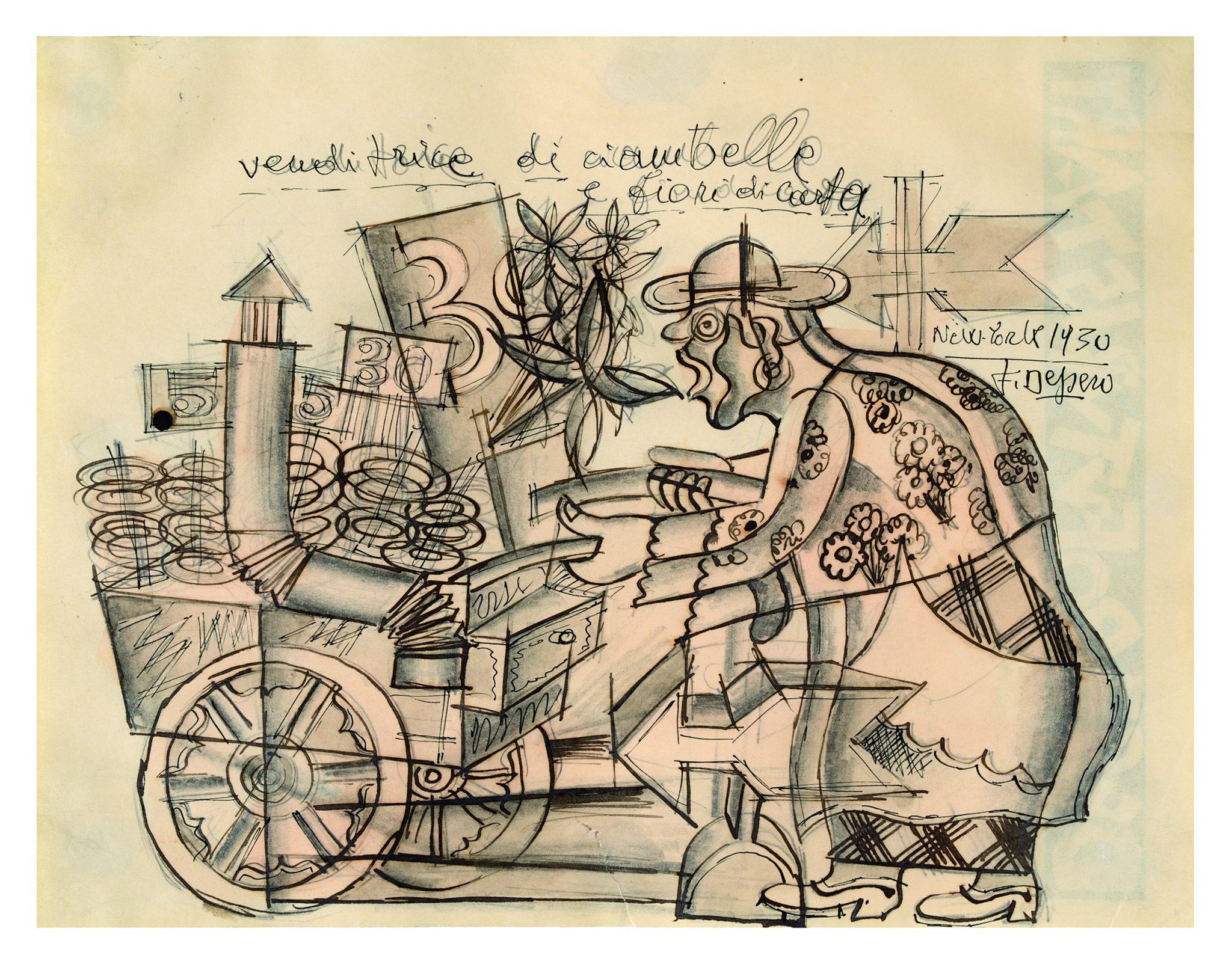 Fortunato DeperoVenditrice di ciambelle e fiori di carta, 1930Inchiostro, matita grafite e acquerello su carta, 21.5 x 27.9 cm