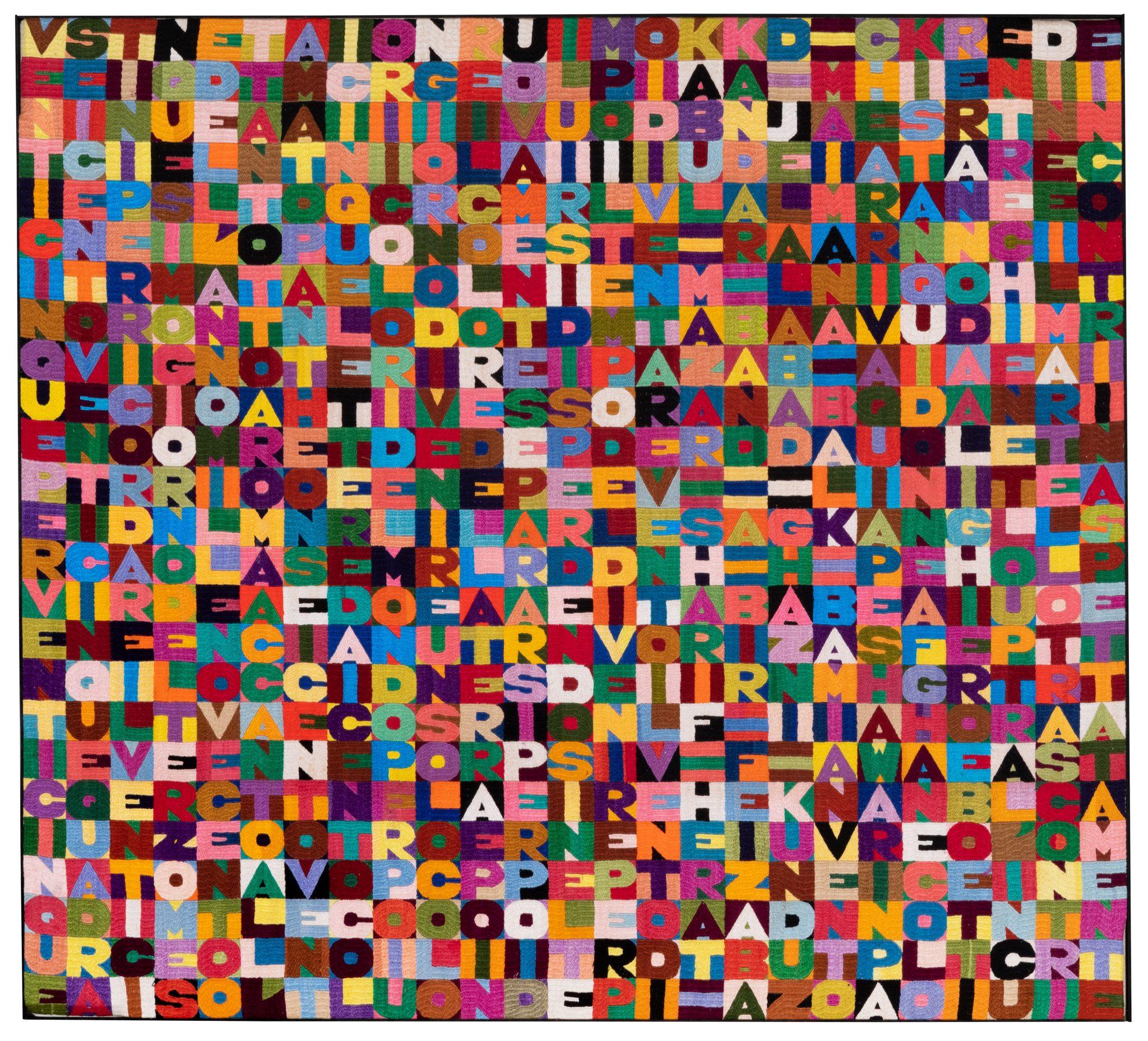 Lotto 333 Alighiero Boetti (1940-1994) l venticinquesimo giorno del terzo mese dell'anno millenovecentoottantotto, 1988 ricamo su tessuto, cm 100,5x111,5 Opera registrata presso l'Archivio Alighiero Boetti, Roma Stima € 250.000-350.000