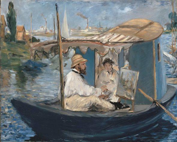 Édouard Manet, Monet che dipinge sulla sua barca, 1874, 82,7 x 105,0 cm