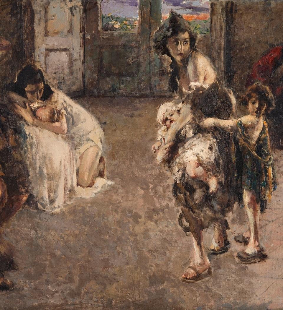 """lotto 548 Vincenzo Irolli, """"Napoli, 1943"""" olio su tela (cm 154x206) Firmato in basso a sinistra, In cornice Valutazione: € 32.000-35.000"""