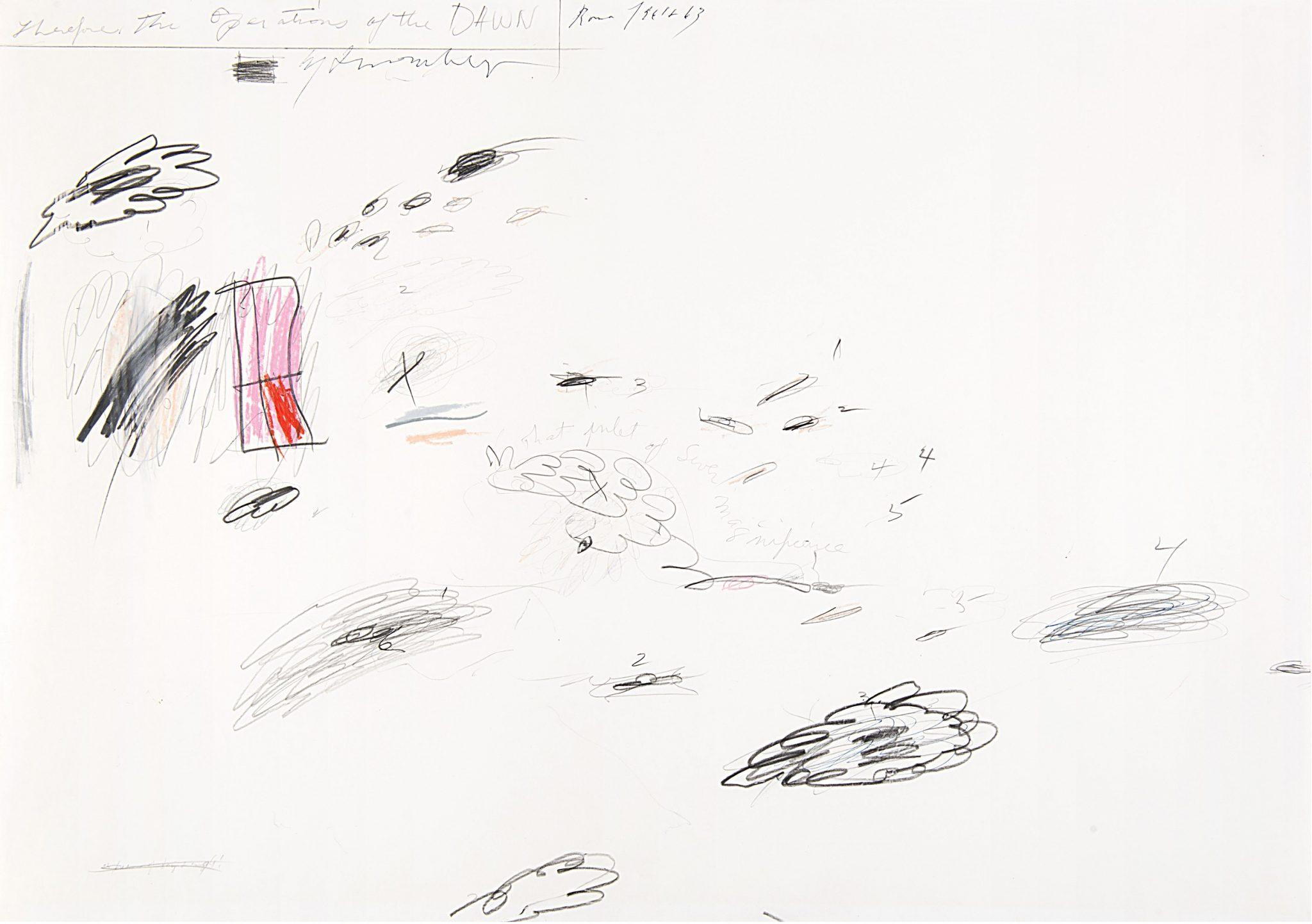 """CY TWOMBLY """"Senza titolo"""" 1961-1963 grafite, matita, pastelli, penna a sfera su cartoncino cm 49x70,2 Valutazione 200.000 - 300.000€"""
