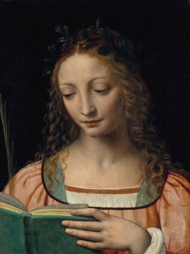 508 BERNARDINO LUINI (LUINO VERS 1480/85-VERS 1532 MILAN ?) Une figure de sainte, en buste, avec une palme et lisant les Ecritures 400,000-600,000 €1,207,500 £1,073,333 $1,369,573