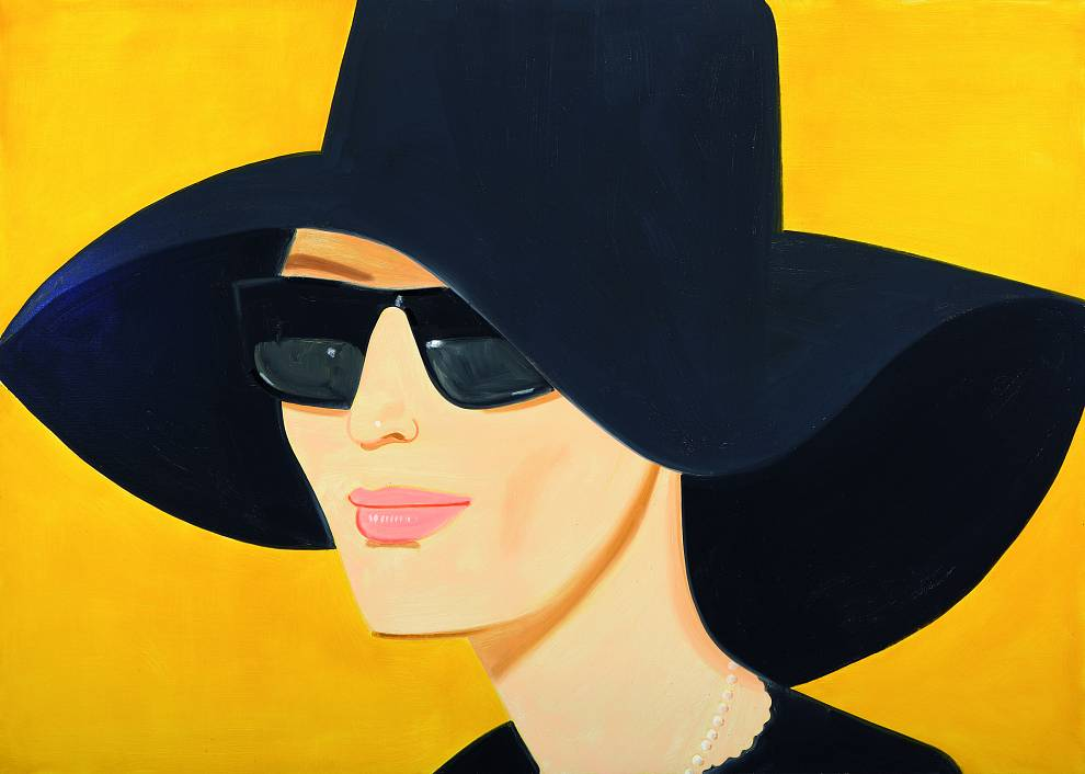 "Alex Katz, ""Ulla in Black Hat"", 2010, oil on canvas, 152.4 x 213.4 cm (60 x 84 in). AKZ 1431"