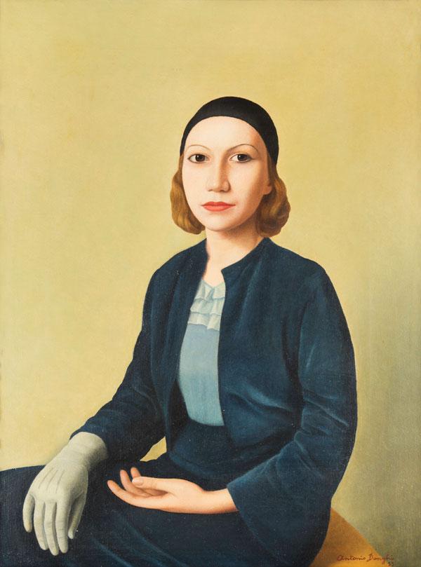 Lotto 235 Antonio Donghi (1897-1963) Abito azzurro, 1933 olio su tela, cm 50x37,5 Stima € 50.000 - 70.000 Venduto a 212.500 €