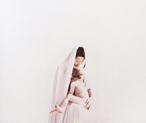 Elvis Spadoni - Dove scorre latte e miele (Maria con bambino), 2018, olio su tela, 160x135cm