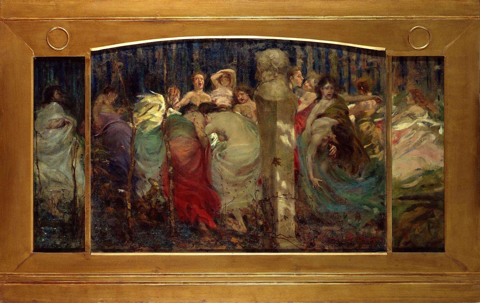 Filippo Omegna - Ballata d'autunno 1904 - olio su tela, trittico