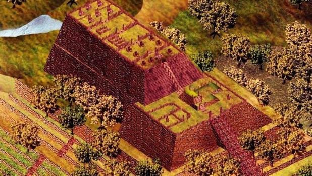 Una ricostruzione della piramide individuata in Indonesia