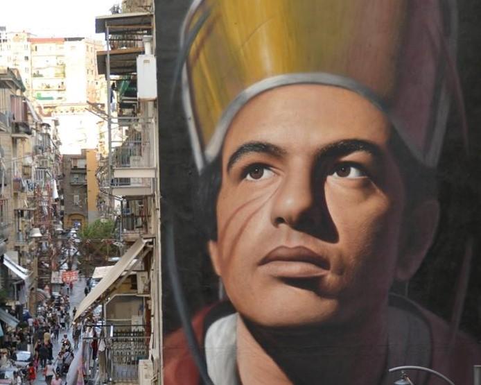 murale raffigurante san gennaro nel quartiere forcella di napoli