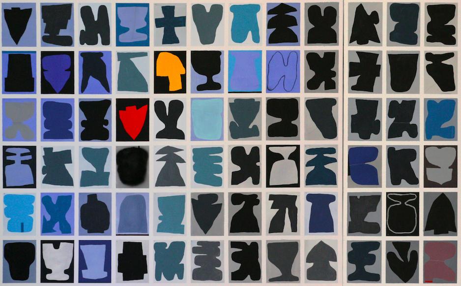 108, Porte Inverno, dettaglio. 2018, tecnica mista su tela, 100x240