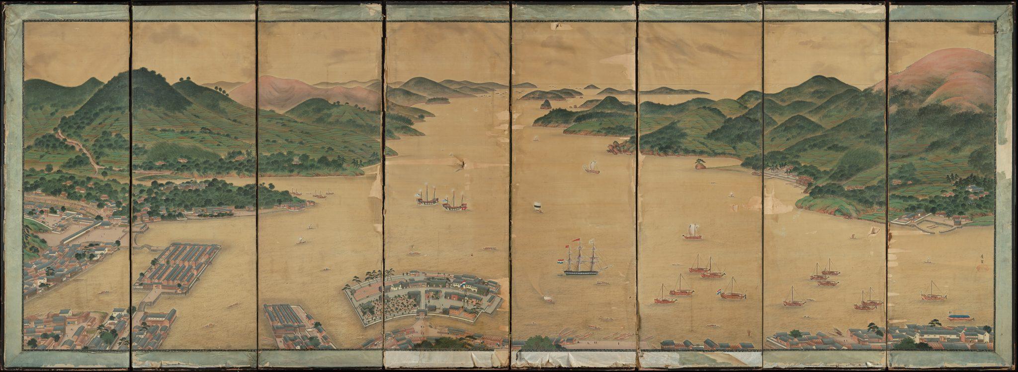Kawahara Keiga 'View of Deshima in Nagasaki Bay'
