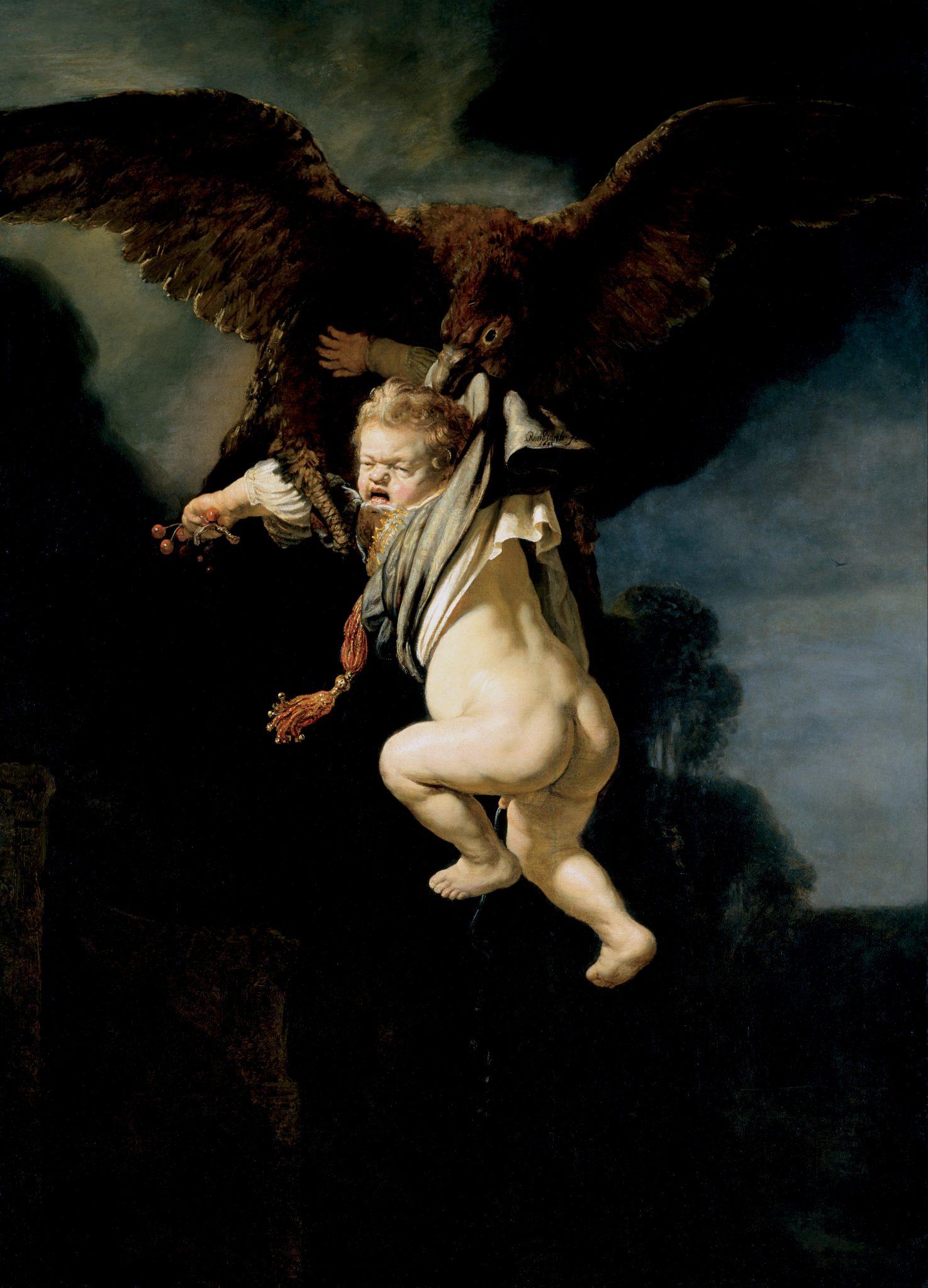 l Ratto di Ganimede Rembrandt - The Abduction of Ganymede - Google Art Project.jpg Autore Rembrandt Harmenszoon Van Rijn Data 1635 Tecnica olio su tela Dimensioni 177×130 cm Ubicazione Staatliche Kunstsammlungen, Dresda