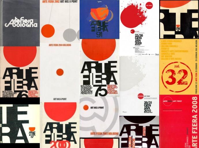 Tutte le evoluzioni del logo disegnato da G. Lanzi nel corso delle varie edizioni di Arte Fiera.