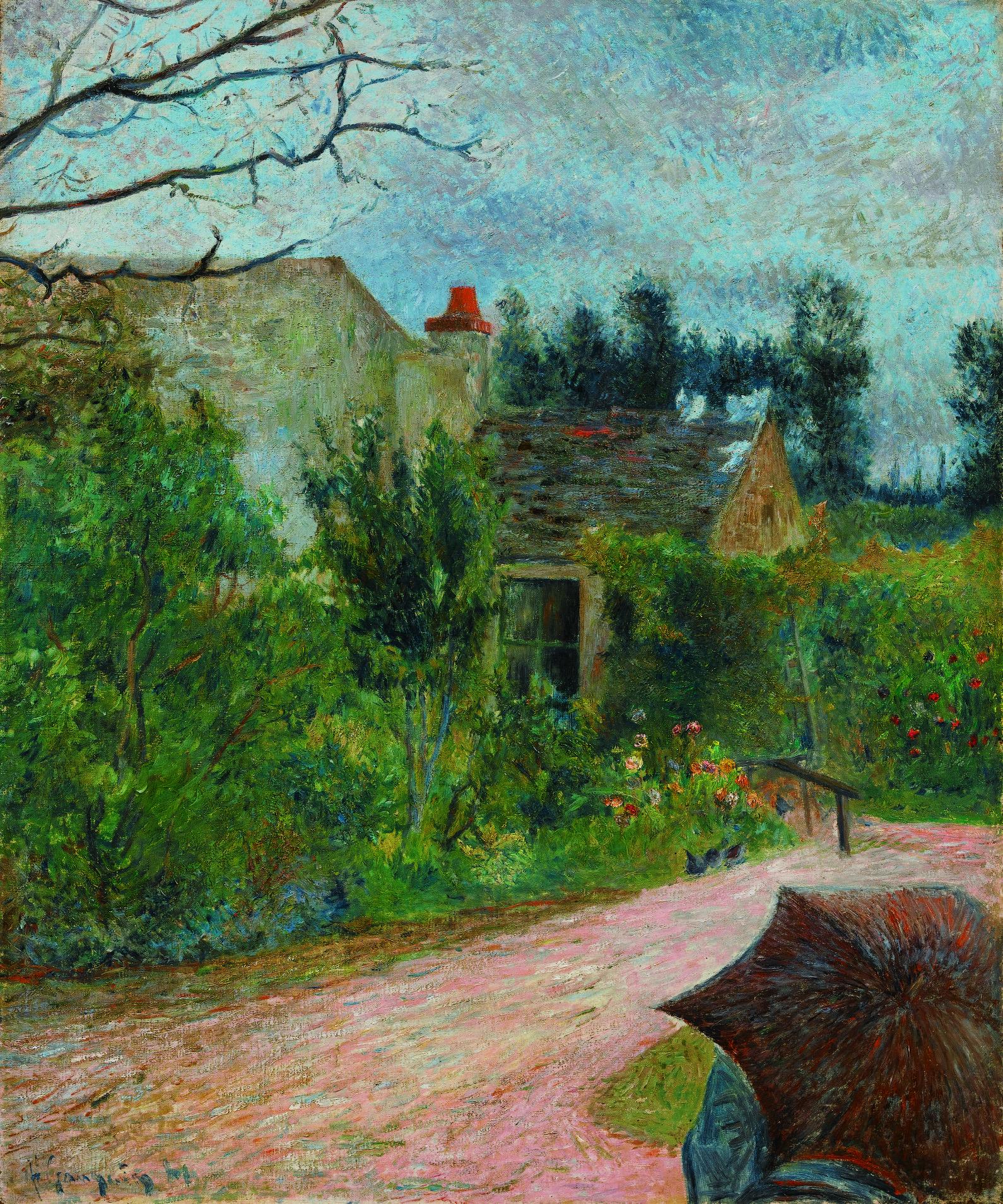 Paul Gauguin Le Jardin de Pissarro, Quai du Pothuis à Pontoise, 1881 (recto) Deux esquisses d'autoportrait (verso) Signé et daté p Gauguin 81 en bas à gauche du recto Huile sur toile, 65 x 54 cm Estimate : €600.000-900.000