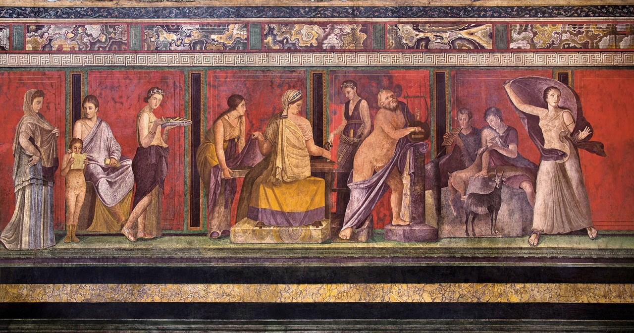 Affresco nella Villa dei Misteri a Pompei