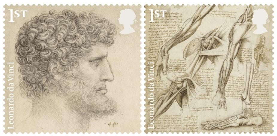 Due dei francobolli dedicati a Leonardo