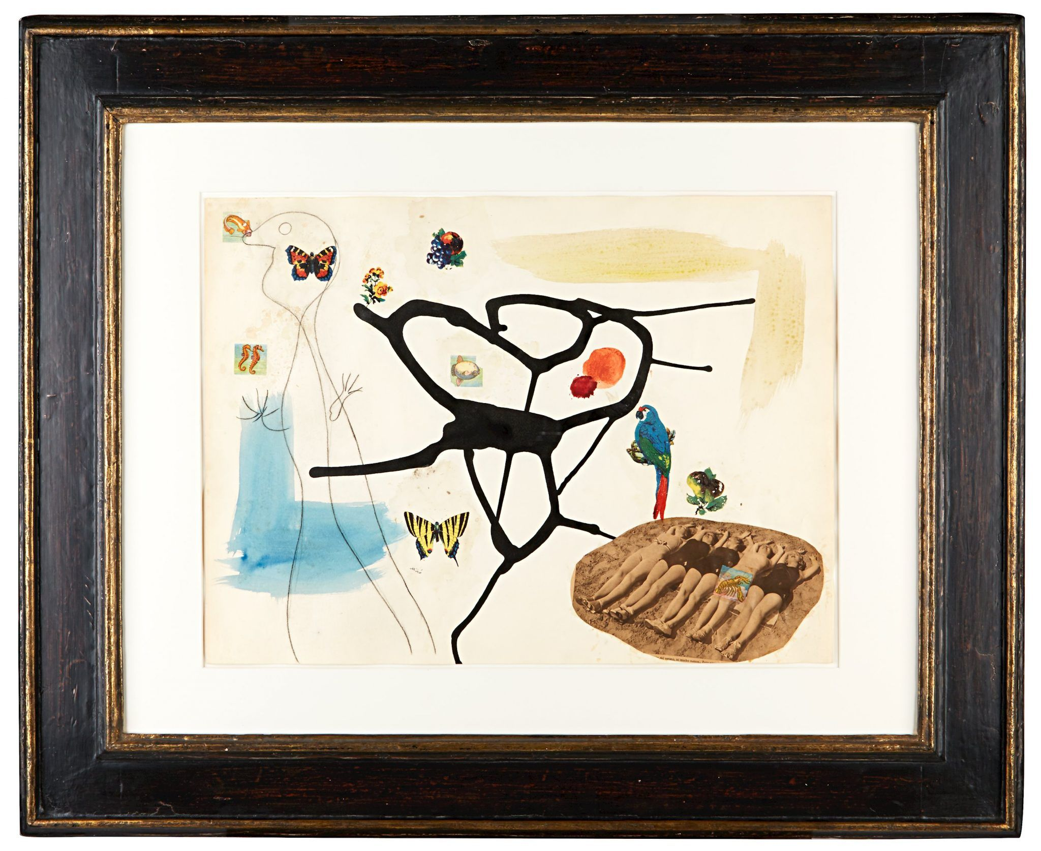 MÉTAMORPHOSE JOAN MIRO (Barcelona, 1893 - Palma, 1983) Pencil, India ink, watercolor, decal and collage on paper 46 x 62 cm (18.1 x 24.4 in.) Signed lower center 'Miró', signed, titled and dated on the reverse 'Joan Miró / 'métamorphose' / 23/3-4/4/36' 1936 PROVENANCE Pierre Matisse Gallery, New York; Pierre-Noël Matisse, Paris; Private collection