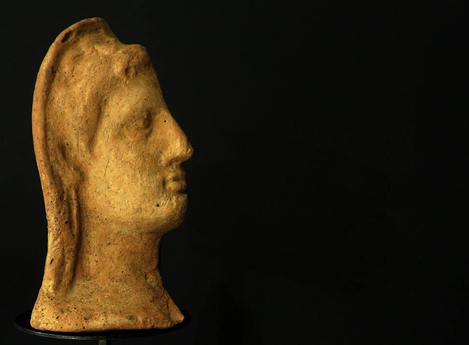 Testa di profilo di una scultura