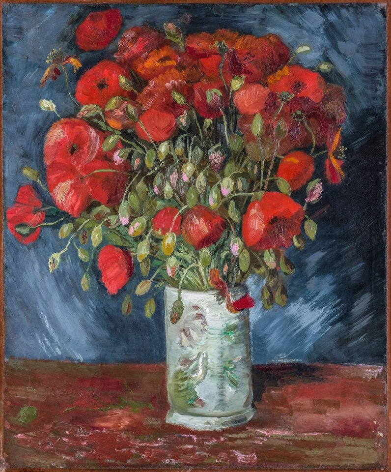 Van Gogh, Vase of Poppies (1886), Wadsworth Atheneum Museum of Art, Hartford, Connecticut, Bequest of Anne Parrish Titzell