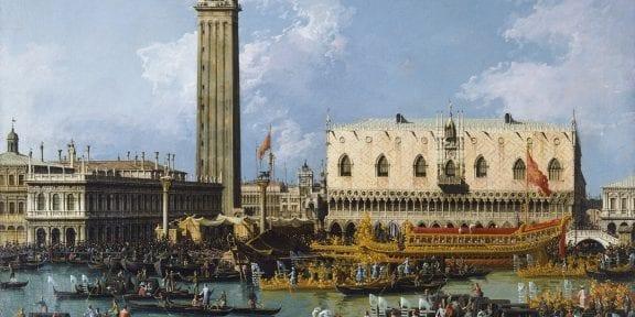 Bernardo Bellotto Il Ritorno del Bucintoro al molo nel giorno dell'Ascensione Olio su tela, cm 108 x 115 Inghilterra, Collezione privata