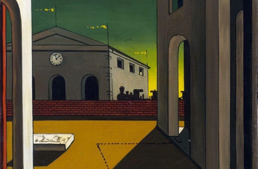 Giorgio de Chirico, Piazza d'Italia con piedistallo vuoto, 1955, olio su tela, cm. 55 x 35,5, Collezione Roberto Casamonti, Firenze (courtesy Tornabuoni Arte, Firenze) © Collezione Roberto Casamonti, Firenze
