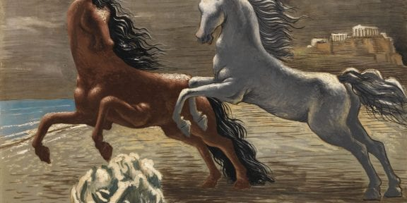De Chirico Savinio, Fondazione Magnani-Rocca 2019, Giorgio de Chirico, Cavalli in riva al mare (Les deux chevaux), 1926
