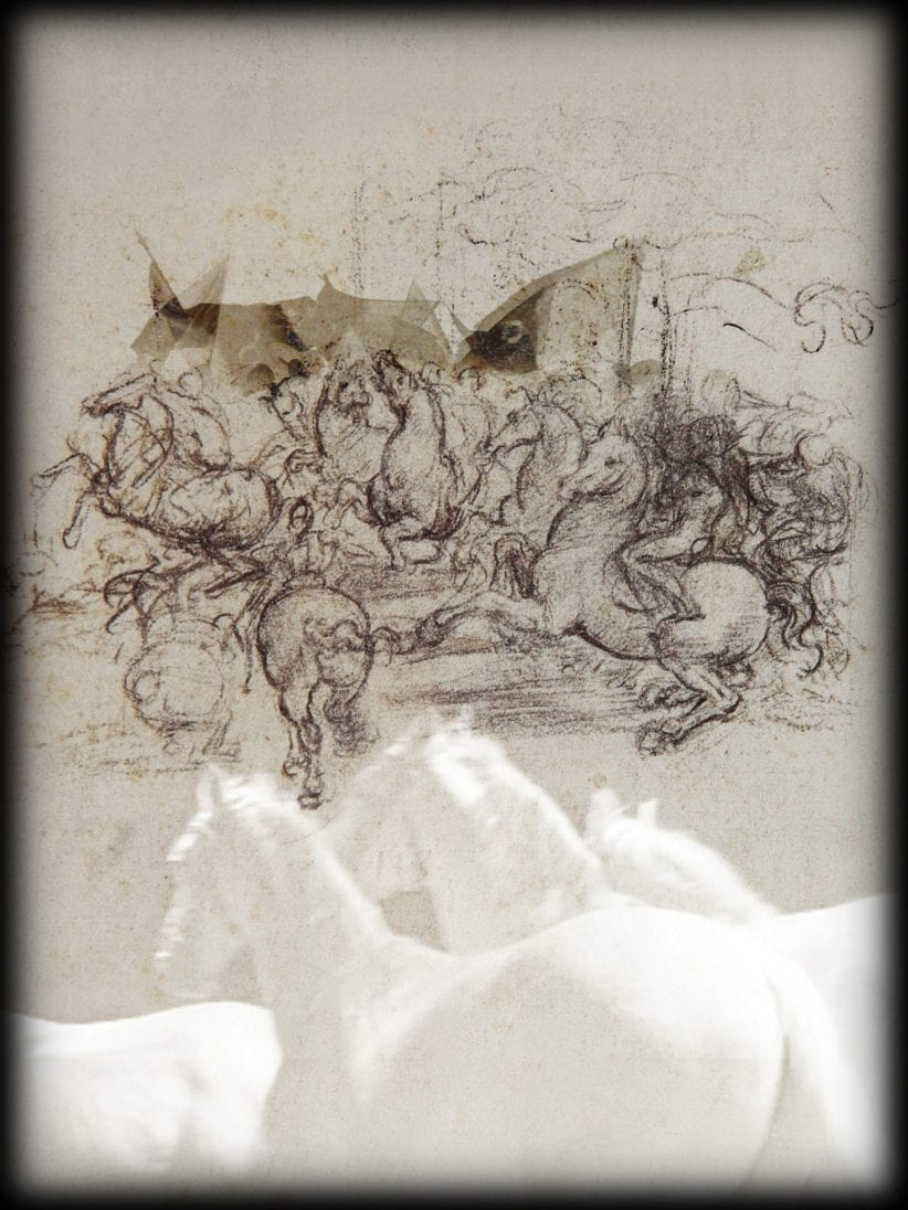 Studio Azzurro Leonardo, Le macchine da guerra, Libertà, frame da video, 2019 Da foglio di Leonardo da Vinci: RL 12339r, Windsor Castle, Royal Collection Trust / © Her Majesty Queen Elizabeth II 2019
