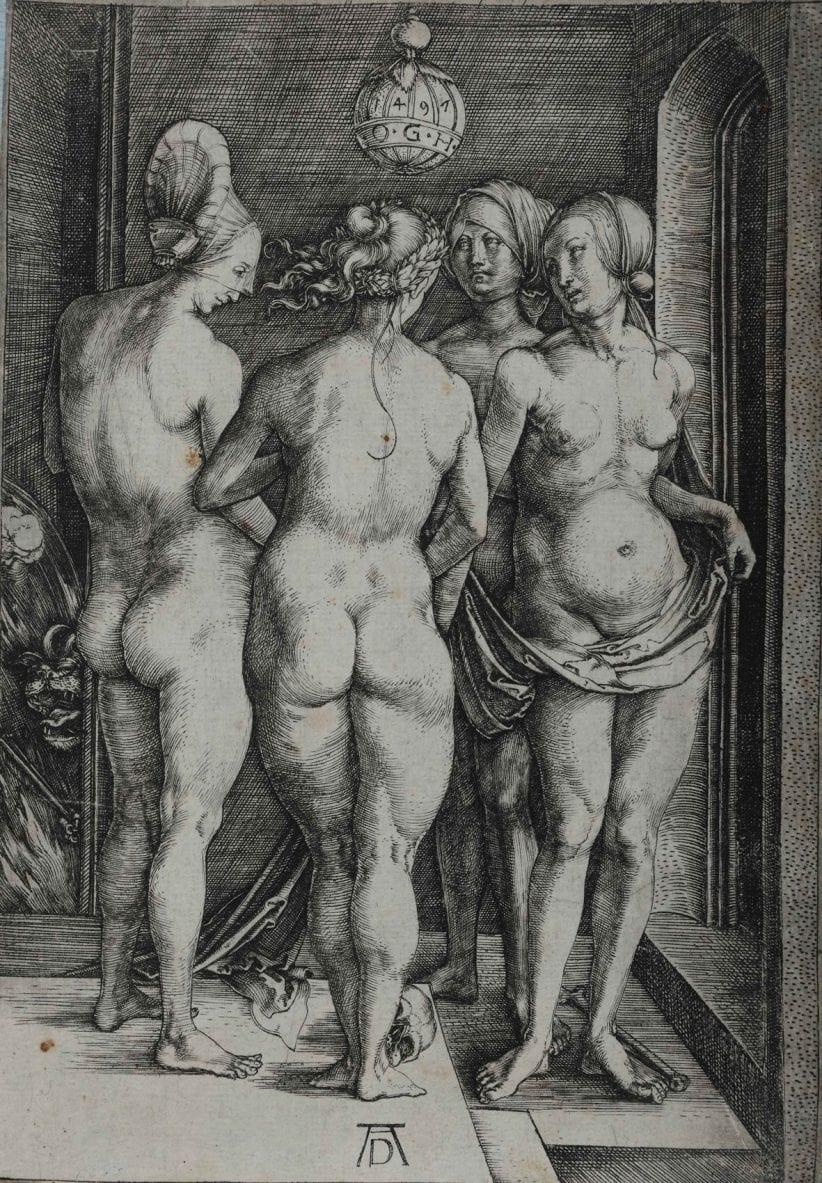 Albrecht Dürer, Le quattro streghe, incisione a bulino, 192 x 123