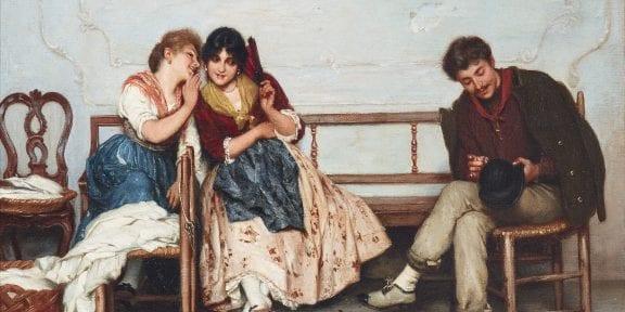 Eugen von Blaas (1843 - 1931), Segreti, olio su tela, 40 x 54 cm, asta 29 aprile 2019, stima € 25.000 - 35.000