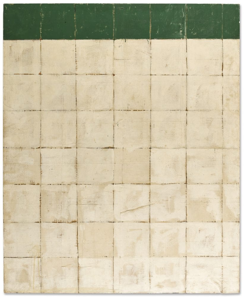 Mario Schifano 7 AGOSTO 1961 SIGNED, TITLED AND DATED 7 AGOSTO 1961 ON THE REVERSE, ENAMEL AND CHARCOAL ON PACKAGE PAPER LAID ON CANVAS. THIS WORK IS REGISTERED IN THE ARCHIVIO MARIO SCHIFANO, ROME, UNDER N. 03655180120 AND IT IS ACCOMPANIED BY A PHOTO-CERTIFICATE ISSUED BY THE ARCHIVIO MARIO SCHIFANO, ROME. Estimate 550,000 — 700,000 EUR
