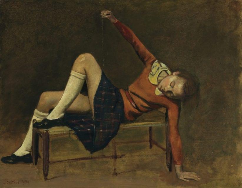 Balthus, Thérèse sur une banquette (1939). Courtesy of Christie's.