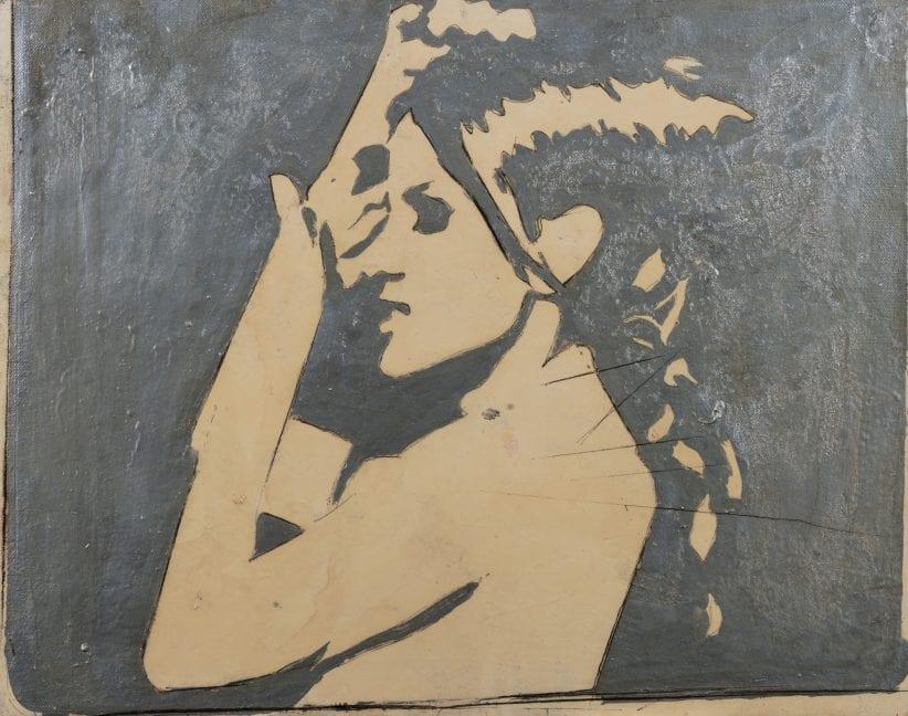 Giosetta Fioroni Senza titolo - Per Paola, 1965 vernice argento e tecnica mista su tela cm 40 x 50