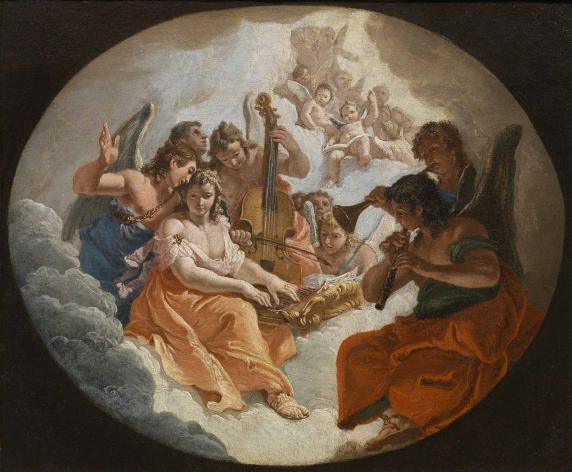 Francesco Fontebasso: Allegoria della musica, olio su tela, cm 35 x 43