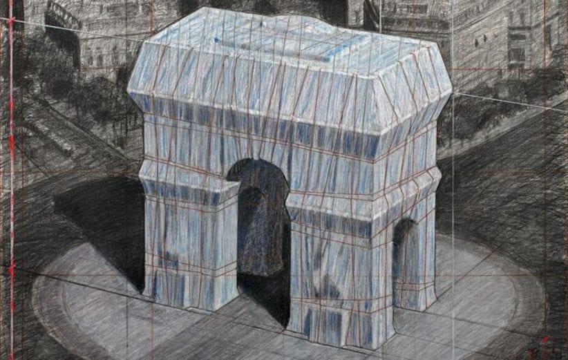 Il progetto di Christo per l'Arc de Triumph Wrapped (© 2018 Christo)