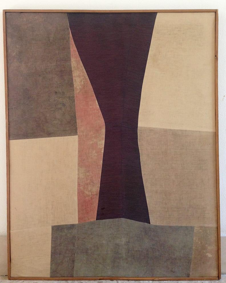 Nuvolo, Clessidra, 1958, pittura a olio su tessuti cuciti e dipinti montati su telaio, 93x119 cm