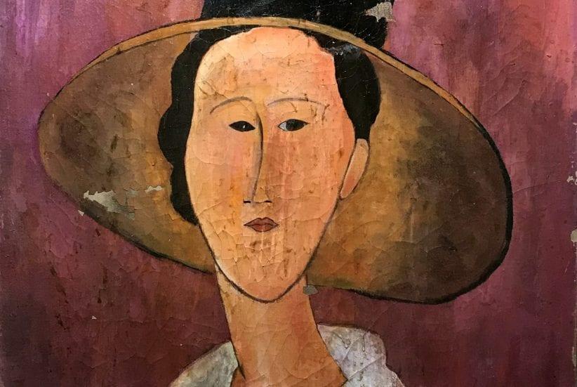 Particolare di Donna col capello, uno dei Modigliani falsi sequestrati dai Carabinieri